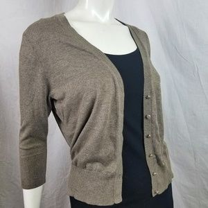 Taupe 3/4 Sleeve Work Cardigan Button Brown V Neck